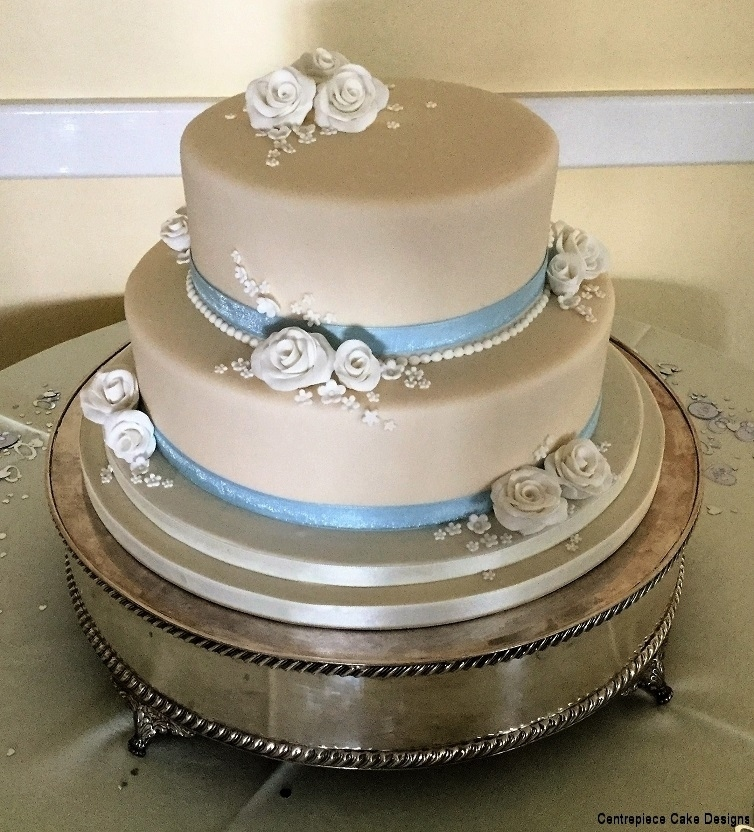 Tiered wedding cakes isle of wight wedding cake bakers silver 2 tier wedding roses junglespirit Image collections