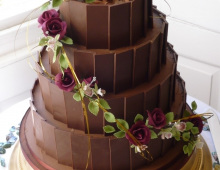 chocolate-stack-cascading-flowers