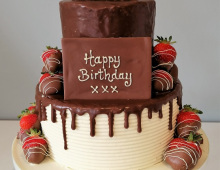 Adult-birthday-3-tier-dark-ganache-white-buttercream